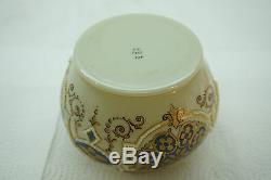 Antique Art Glass Vase Fritz Heckert Signé Opaque Coralene Bohême Émail
