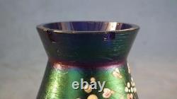 Antique Art Nouveau Iridescent Vase En Verre Attribué À Loetz Vers 1910