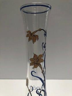 Antique Baccarat Émaillé Art Nouveau Conçu Vase Sticker Partiel Reste