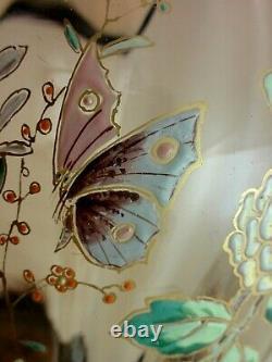 Antique Bohemian Harrach / Moser Peint À La Main En Émail Butterfly Art Vase En Verre