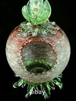 Antique Bohemian Loetz Rubina / Vase En Verre D'art Floriforme Pele Mele
