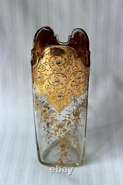 Antique Bohemian Moser Art Émail En Verre Et Vase D'or C 1880