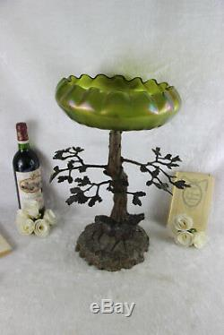 Antique Bol Art Nouveau Au Centre, Arbre, Vase En Verre Irisé Vert Attr. Loetz