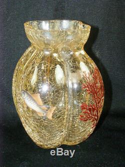 Antique C1900 Moser Ambre Crackle Verre Art Nouveau Vase Aquatique