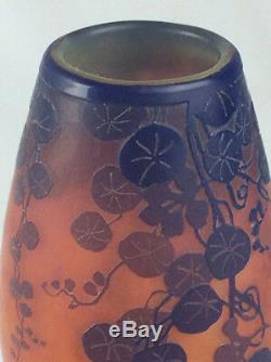 Antique Devez Français Verre Art Vase Scénique Camée Scène Lac De Montagne Art Nouveau