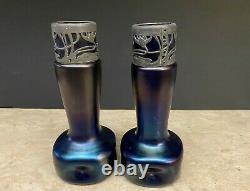 Antique Dimpled Austrian Art Nouvelian Blue Vases En Verre Irisé Loetz Stolzle
