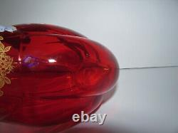 Antique Émaillé À La Main Peint À La Main Français Mont Joye Legras Vase En Verre D'art Rouge 904