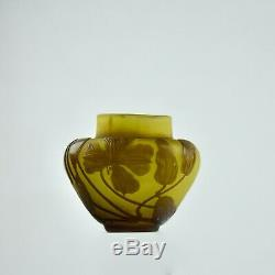 Antique Emile Galle Français Art Glass Vase En Verre Camée