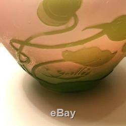 Antique Emile Galle Français Art Vase En Verre Multi Couleur Plantes À Fleurs