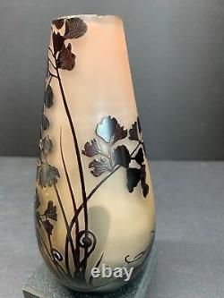 Antique Emile Gallé Français Cameo Art Nouveau Vase En Relief En Verre Avec Puce