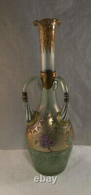 Antique Fritz Heckert Iridescent Glass Émail Gilt Bird Cypern Vase Art Nouveau
