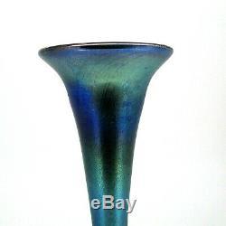 Antique L. C. Tiffany Favrile Bleu Iridescent Art Glass Vase Cannelée Bud (# 1504)