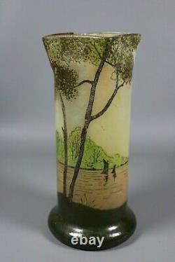 Antique Legras Française Énommée Cameo Glass Vase River Scene Art Nouveau C1910