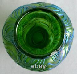 Antique Loetz Glass Blue Green Studio Creta Formosa Vase Irisé Art Nouveau