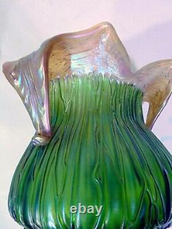 Antique Loetz Kralik Vert Iridescent Art Vase En Verre Rusticana Crète Chine