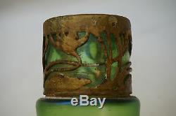 Antique Loetz Verre Vert Vase Metal Art Nouveau Stretch Recouvrement 8in Iridescent