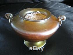 Antique Louis Comfort Tiffany & Co Studios Pc Gold Favrile Art Glass Vase