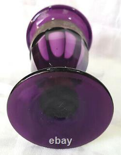 Antique Moser Amethyst Facetted Warrior Frieze Scène Vase Art Verre Tchèque 71/2tall