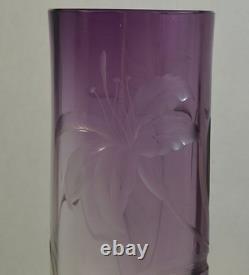 Antique Moser Art Nouveau Améthyste À Vase En Verre Clair Avec Lys