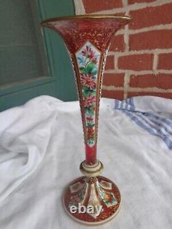 Antique Moser Bohemian Cranberry Floral Enamel Cut Cased Trumpet Art Glass Vase