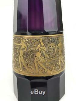 Antique Moser Karlsbad Tchèque Art Déco Gilded Amethyst Violet Verre Signé Vase