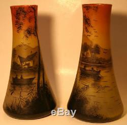 Antique Pierre Jost Art De Verre Peintes À La Main Vase Pair 9,75 25cm Lac Pêche