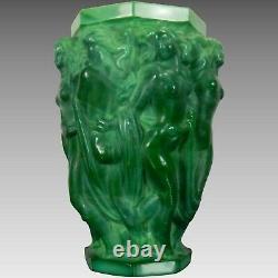 Antique Rare Schelvogt Art Déco Malachite Verre Vase Olympia République Tchèque