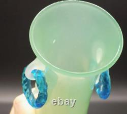 Antique Steuben Art Glass Vase Jade, Albâtre Et Anneaux Bleus 12.75 Tall C. 1925
