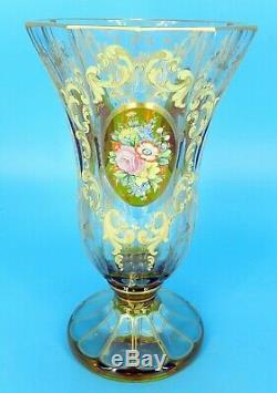 Antique Très Émaillé Moser Ambre Art Glass Vase 9.25tall Avec Panneaux Fleurs