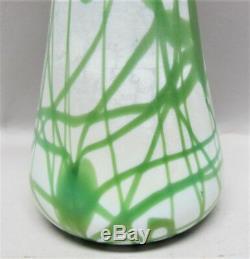 Antique Unique Imperial Art Nouveau Vase En Verre Coeurs Verts Et Vigne C. 1920