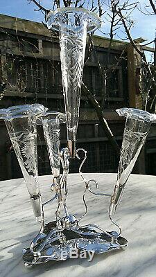 Antique Victorian Art Nouveau Verre En Cristal D'argent Plaqué Épergne Bud Vase 13.5tall