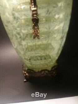 Antique Vintage Consolidated Phoenix Art Déco Vase En Verre Ormalou Rare Uranium