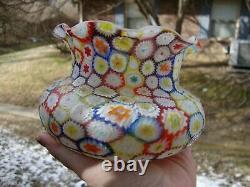 Antique Vtg Murano Millefiori Fratelli Vase Studio Art Glass