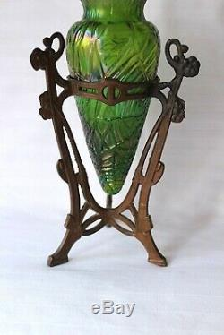 Antiquité Art Nouveau Loetz Kralik Vase Monture En Métal C 1900