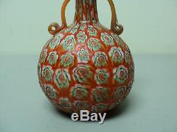 Antiquité Fratelli Toso Murano Millefiori Art Vase En Verre Art Miniature