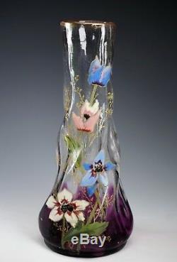 Antiquité Moser Améthyste Art Verre Email Fleurs Vase À Bordure Dorée Poli Pontil