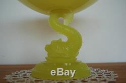 Antiquité Vallerystahl Vase Dauphin En Verre Art Nouveau Jaune Compote Victorienne Ancienne