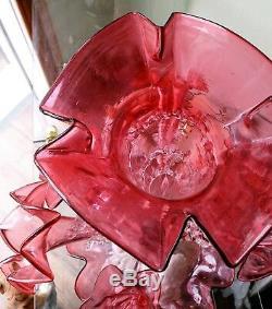 Antiquité Victorienne, Canneberges, Épergne, Art, Verre, Flûte Centrale, Vase Tulipe 7 Flûtes