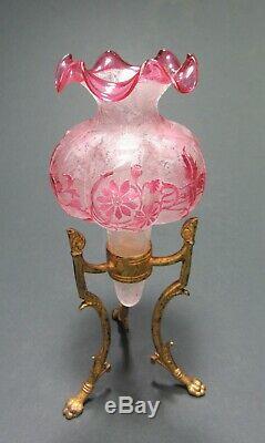 Art Antique Nouveu Français Baccarat Ou St Louis Etched Glass Vase Épergne Résister À
