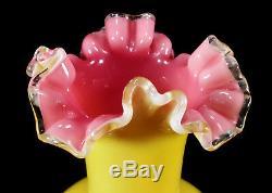 Art Antique Victorien Verre Vase Ruffled Émaillés Oiseaux Décoration Jaune Rose