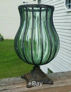 Art Antique Vintage Italien Verre Vase Caged Fer Forgé Mounted 12 Pair Grand