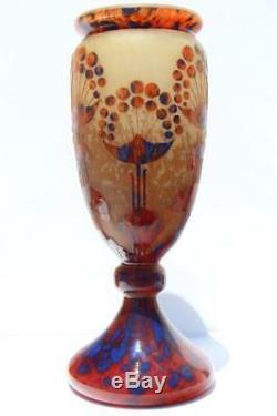 Art Deco Charles Schneider Le Francais Verre Ombelles Vase En Verre Signé France