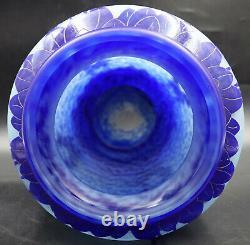 Art Déco Français Le Verre Francais Myrtilles Vase Blue Glass Cameo Signé Charder