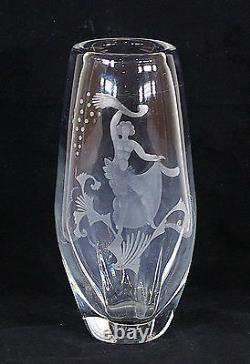 Art Déco Orrefors Nude Vase En Verre Gravé Suède