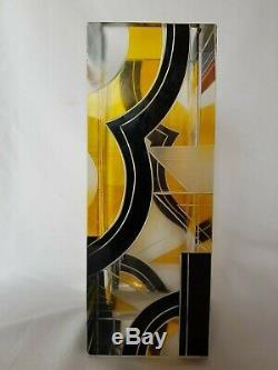 Art Déco Tchécoslovaque Tchèque Karel Palda Verre Vase Géométrique Noir / Jaune
