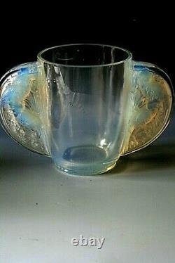 Art Déco Verlys Vase En Verre Opalescent Les Oiseaux Des Iles Vers 1934