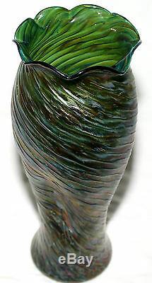 Art Du Verre Vase, Loetz, Rindskopf, Autriche, Irisé, Vert, Tache Rouge, 13 C1900