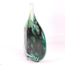 Art Glass Un Bon Vase Maltais En Forme De Poisson De Glace Découpé Signé Michael Harris 1968 72