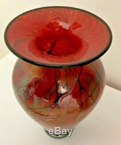 Art Lindsay Verre Signé Phoenix Blown Vase En Verre 6,75 Pouces De Hauteur