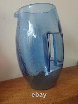 Art Nouveau 1905 Koloman Moser Kristall Krocodil Vase Jug En Verre De Cristal Bleu